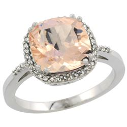 Natural 2.81 ctw Morganite & Diamond Engagement Ring 10K White Gold - REF-59Z7Y