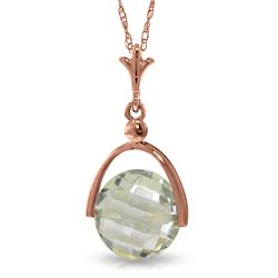 Genuine 3.25 ctw Green Amethyst Necklace Jewelry 14KT Rose Gold - REF-22R3P