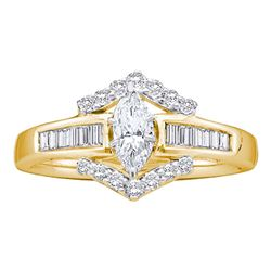 0.75 CTW Marquise Diamond Solitaire Bridal Anniversary Ring 14k Yellow Gold - REF-124X3Y