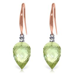 Genuine 19.1 ctw Green Amethyst & Diamond Earrings Jewelry 14KT Rose Gold - REF-41W3Y