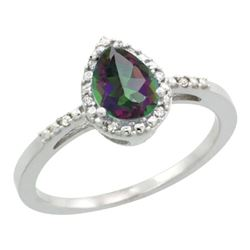 Natural 1.53 ctw mystic-topaz & Diamond Engagement Ring 14K White Gold - REF-25A5V