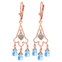 Genuine 4.83 ctw Blue Topaz & Diamond Earrings Jewelry 14KT Rose Gold - REF-52R7P