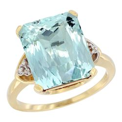 Natural 5.44 ctw aquamarine & Diamond Engagement Ring 14K Yellow Gold - REF-77X9A