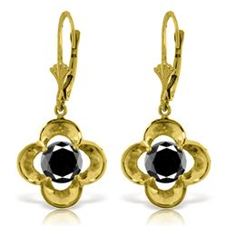 Genuine 1.0 ctw Black Diamond Earrings Jewelry 14KT Yellow Gold - REF-76P2H