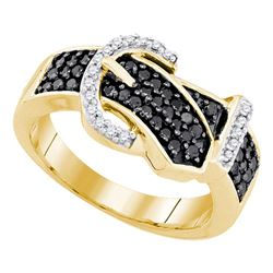 0.50 CTW Black Color Diamond Belt Buckle Ring 10KT Yellow Gold - REF-30Y2X