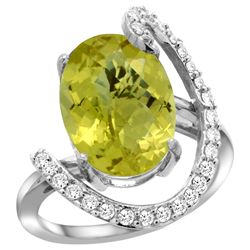Natural 5.89 ctw Lemon-quartz & Diamond Engagement Ring 14K White Gold - REF-89W3K