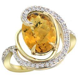 Natural 6.53 ctw quartz & Diamond Engagement Ring 14K Yellow Gold - REF-70Z6Y