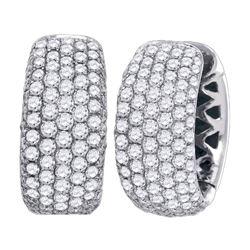 3 CTW Pave-set Diamond Five Row Hoop Earrings 14KT White Gold - REF-326H9M