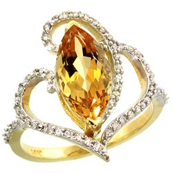 Natural 3.33 ctw Citrine & Diamond Engagement Ring 14K Yellow Gold - REF-77Y5X