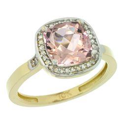 Natural 2.11 ctw Morganite & Diamond Engagement Ring 14K Yellow Gold - REF-54Y9X