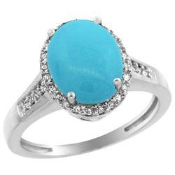 Natural 2.49 ctw Turquoise & Diamond Engagement Ring 14K White Gold - REF-48R6Z