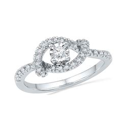 0.25 CTW Diamond Cradle Solitaire Promise Bridal Ring 10KT White Gold - REF-24F2N
