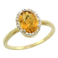 Natural 1.22 ctw Whisky-quartz & Diamond Engagement Ring 14K Yellow Gold - REF-26G8M
