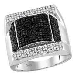 1.08 CTW Mens Black Color Diamond Domed Rectangle Cluster Ring 10KT White Gold - REF-97W4K
