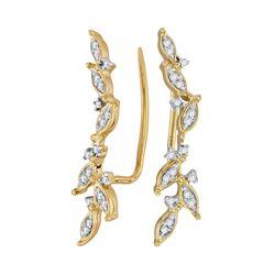 0.20 CTW Diamond Climber Earrings 10KT Yellow Gold - REF-18W7K