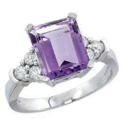Natural 2.86 ctw amethyst & Diamond Engagement Ring 10K White Gold - REF-53F5N