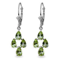 Genuine 4.5 ctw Peridot Earrings Jewelry 14KT White Gold - REF-41A2K