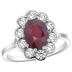 Natural 2.73 ctw Ruby & Diamond Engagement Ring 14K White Gold - REF-104G9M