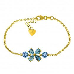 Genuine 3.15 ctw Blue Topaz Bracelet Jewelry 14KT Yellow Gold - REF-56H4X