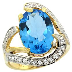 Natural 6.22 ctw swiss-blue-topaz & Diamond Engagement Ring 14K Yellow Gold - REF-134X9A