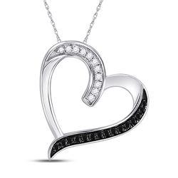 0.20 CTW Black Color Diamond Heart Love Pendant 10KT White Gold - REF-13Y4X