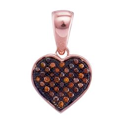 0.10 CTW Red Color Diamond Heart Love Pendant 10KT Rose Gold - REF-12X2Y