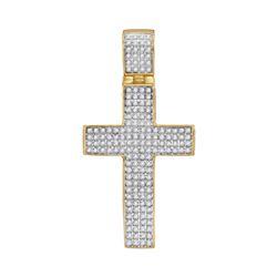 0.50 CTW Mens Diamond Roman Cross Charm Pendant 10KT Yellow Gold - REF-44H9M