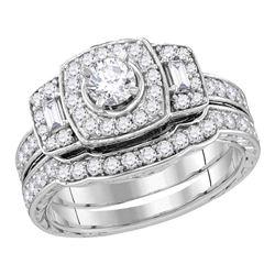 0.98 CTW Diamond Bridal Wedding Engagement Ring 14KT White Gold - REF-127X4Y