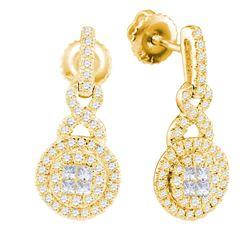 0.50 CTW Princess Diamond Soleil Cluster Dangle Earrings 14KT Yellow Gold - REF-59H9M