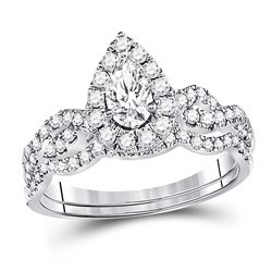 0.97 CTW Pear Diamond Bridal Wedding Engagement Ring 14KT White Gold - REF-142X4Y