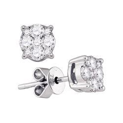 0.89 CTW Diamond Cluster Stud Earrings 18KT White Gold - REF-172W4K