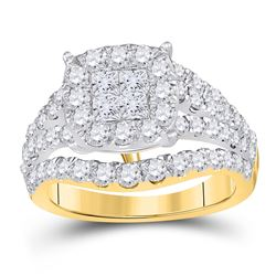 2.5 CTW Princess Diamond Soleil Cluster Bridal Engagement Ring 14KT Yellow Gold - REF-240K2W
