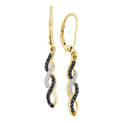 0.30 CTW Black Color Diamond Infinity Dangle Leverback Earrings 14KT Yellow Gold - REF-26N3F