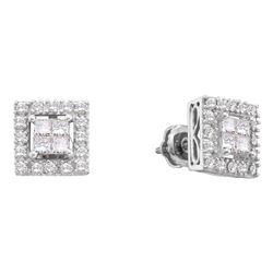 0.75 CTW Princess Diamond Framed Screwback Earrings 14KT White Gold - REF-79Y4X