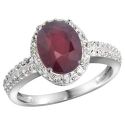 Natural 2.3 ctw Ruby & Diamond Engagement Ring 14K White Gold - REF-42W9K