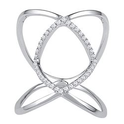0.16 CTW Diamond Open Strand Knuckle Fashion Ring 10KT White Gold - REF-19K4W
