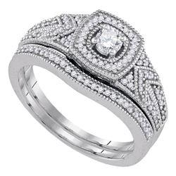 0.38 CTW Diamond Filigree Bridal Engagement Ring 10KT White Gold - REF-59K9W