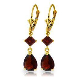 Genuine 4.5 ctw Garnet Earrings Jewelry 14KT Yellow Gold - REF-41M4T