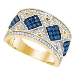 0.65 CTW Blue Color Diamond Diagonal Square Cluster Ring 10KT Yellow Gold - REF-41K9W