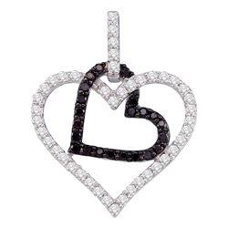 0.50 CTW Black Color Diamond Double Heart Pendant 10KT White Gold - REF-34N4F