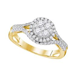 1.03 CTW Diamond Cluster Bridal Engagement Ring 10KT Yellow Gold - REF-119H9M