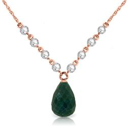 Genuine 15.6 ctw Green Sapphire Corundum & Diamond Necklace Jewelry 14KT Rose Gold - REF-139Y8F