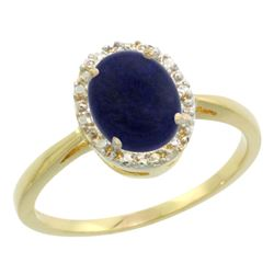 Natural 1.05 ctw Lapis & Diamond Engagement Ring 10K Yellow Gold - REF-19V3F