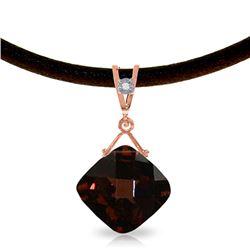 Genuine 8.76 ctw Garnet & Diamond Necklace Jewelry 14KT Rose Gold - REF-46V2W