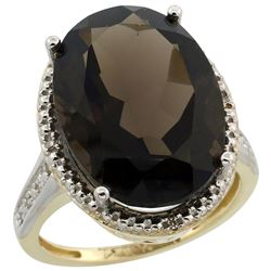 Natural 13.6 ctw Smoky-topaz & Diamond Engagement Ring 10K Yellow Gold - REF-59R2Z