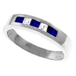 Genuine 0.63 ctw Sapphire & White Topaz Ring Jewelry 14KT White Gold - REF-49W2Y