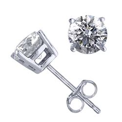 14K White Gold 1.50 ctw Natural Diamond Stud Earrings - REF-394Z9A-WJ13299