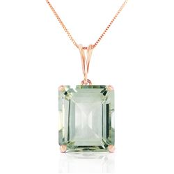 Genuine 6.5 ctw Green Amethyst Necklace Jewelry 14KT Rose Gold - REF-35R2P