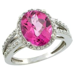 Natural 3.47 ctw Pink-topaz & Diamond Engagement Ring 14K White Gold - REF-46F3N