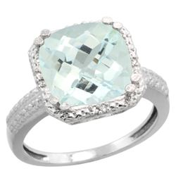 Natural 4.89 ctw Aquamarine & Diamond Engagement Ring 14K White Gold - REF-70K4R